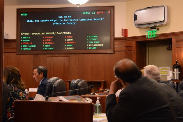 Sen. Lyman Hoffman, D-Bethel, watches the voting board in the Alaska Senate after changing his vote on the state budget Wednesday, June 16, 2021 in the Alaska State Capitol at Juneau. (James Brooks / ADN)