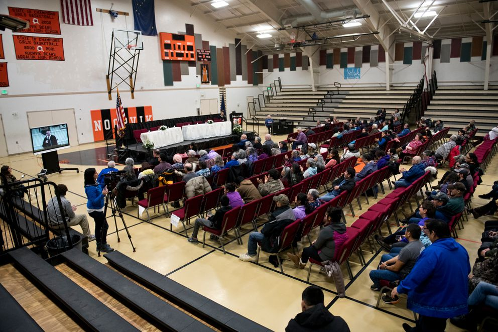 A broadcast of Mike Dunleavy's inauguration was shown at the Noorvik School, where the event was supposed to be held before weather changed the plan, on December 3, 2018. (Marc Lester / ADN)