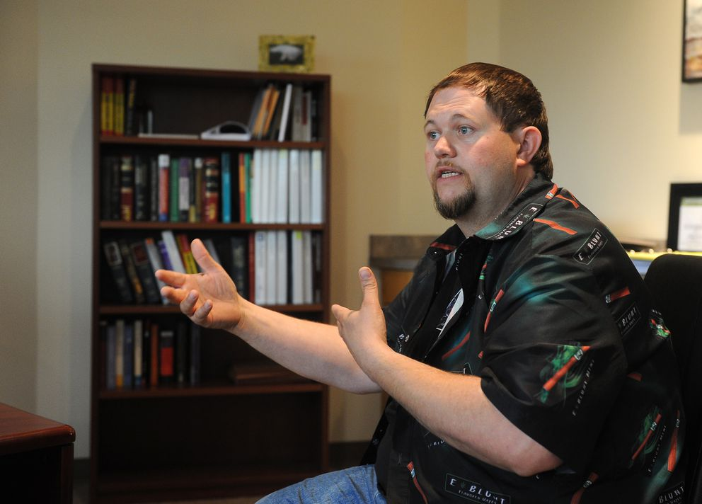 Justin Roland talks about his proposed Dream Green Farms marijuana cultivation operation on July 22, 2016 in Anchorage. The Anchorage Assembly will rule on his business Tuesday. (Bob Hallinen / Alaska Dispatch News)