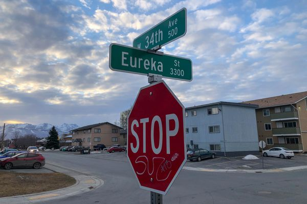 Anchorage police responded early Thursday night, April 4, 2019, to the 3400 block of Eureka Street, finding an unconscious woman in the street with a life-threatening gunshot wound to her upper body. (Loren Holmes / ADN)