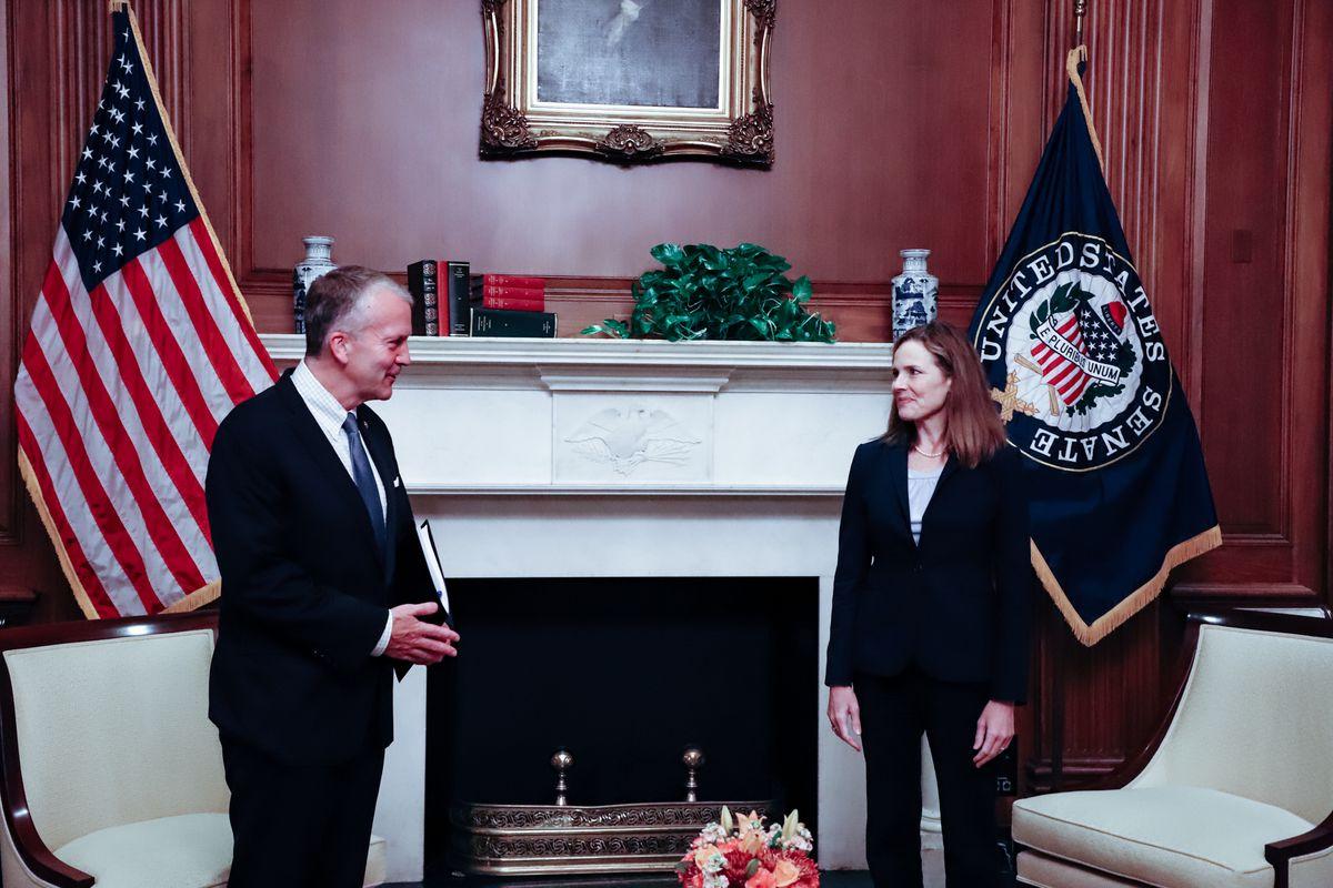 Senator Dan Sullivan met with U.S. Supreme Court nominee Judge Amy Coney Barrett on Sept. 30, 2020. (Photo provided by Sen. Sullivan office)