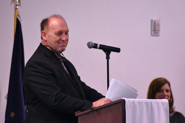 Rep. Gary Knopp, R-Kenai, speaks at breakfast event hosted by the Kenai and Soldotna chambers of commerce on Friday, Feb. 15, 2019 in Kenai. Knopp has been a central figure in the gridlock in the Alaska House of Representatives this session, as he refused to join a prospective 21-member Republican majority. (Photo by Elizabeth Earl/For the Alaska Journal of Commerce)