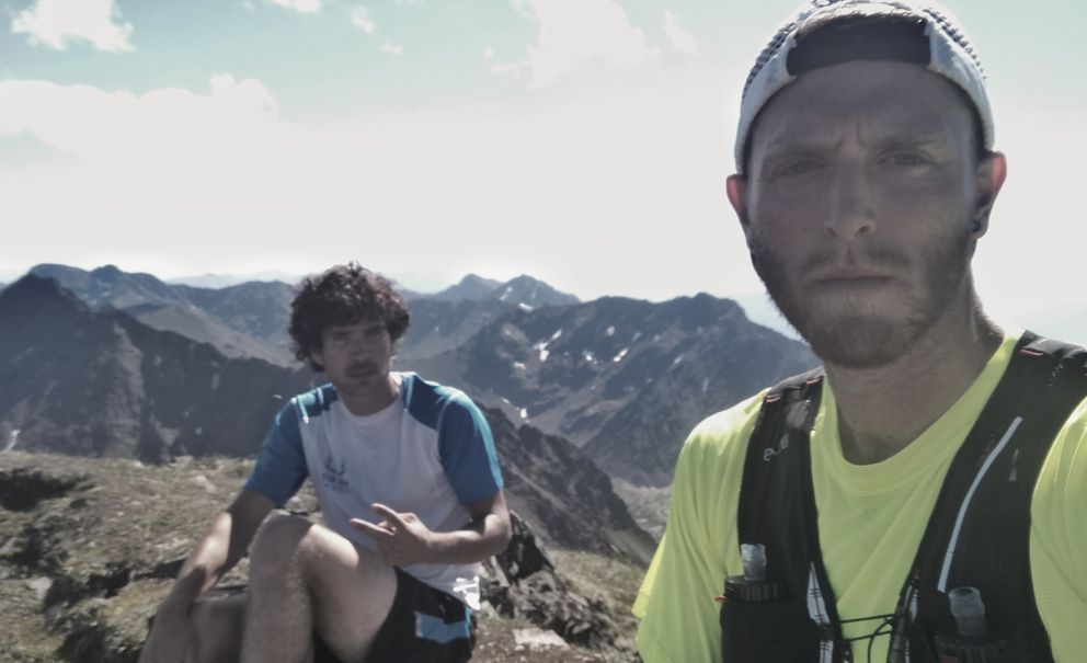 Midway through their 44-mile trip through the front range of the Chugach Mountains, Peter Mamrol (left) and Lars Arneson pause to take a selfie.  (Photo by Lars Arneson)