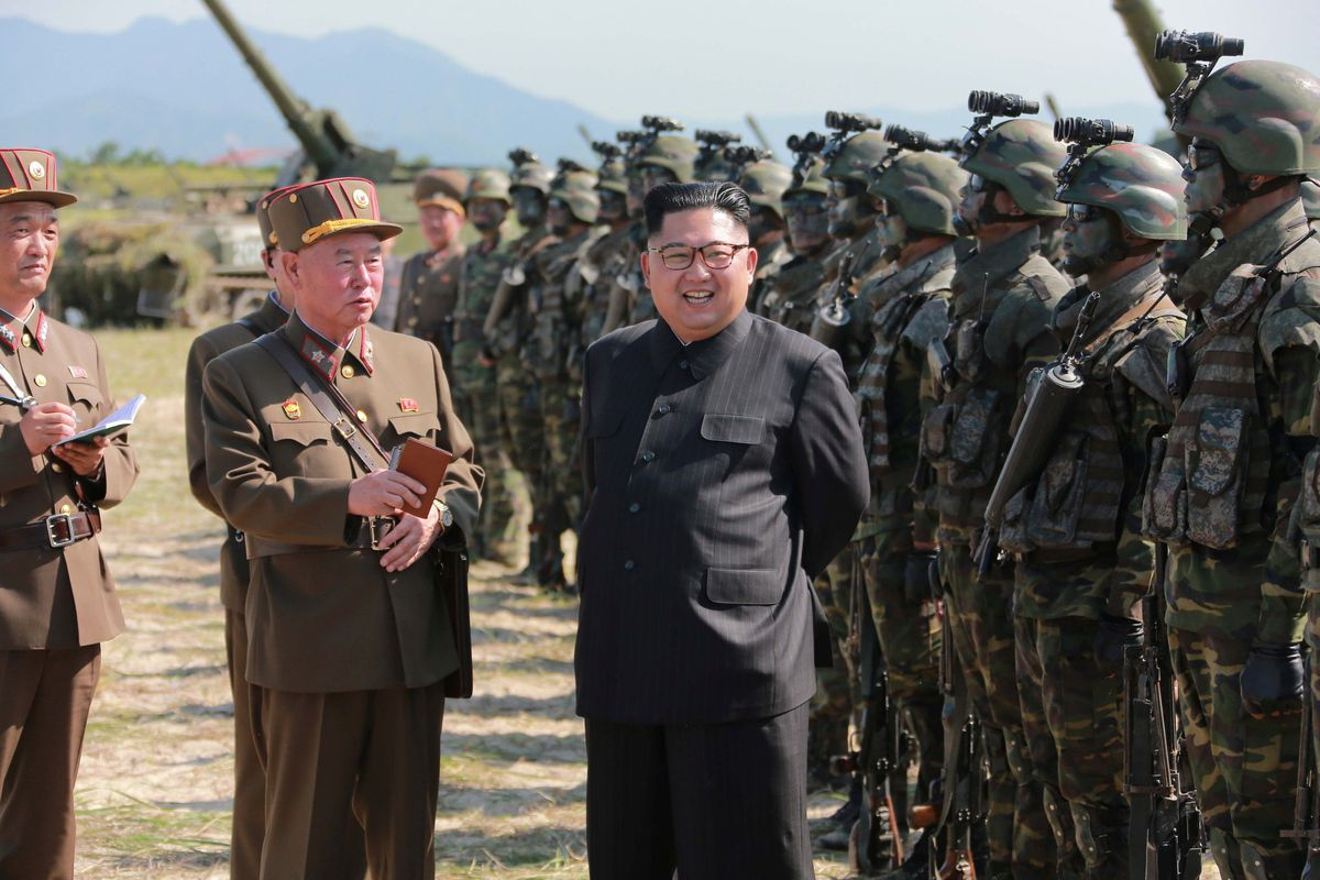 North Korean leader Kim Jong Un guides a target-striking contest of the special operation forces of the Korean People's Army to occupy islands in this undated picture. (KCNA via Reuters)