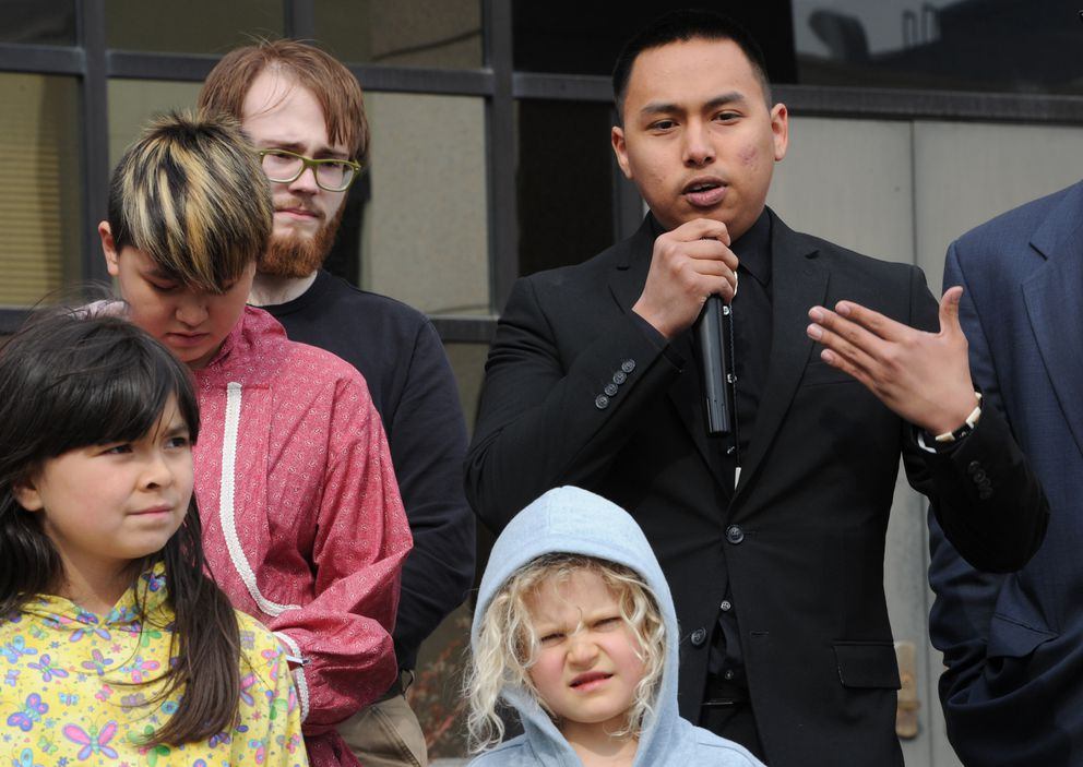 Esau Sinnok, 20, from Shishmaref speaks during a press conference outside the Nesbett Courthouse on Monday, April 30, 2018, after the hearing. (Bill Roth / ADN)
