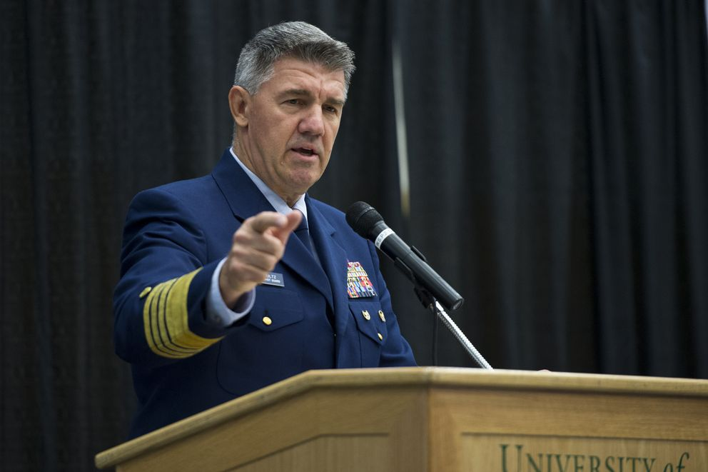 Admiral Karl Schultz, Commandant of the Coast Guard, addresses the audience. Sen. Dan Sullivan hosted the Alaska Wellness Summit to discuss crime in Alaska at the Alaska Airlines Center in Anchoage on August 17, 2018. (Marc Lester / ADN)