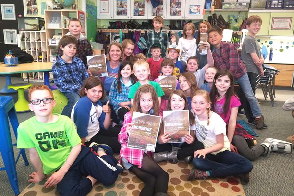 Aquarian Charter School second-and third-graders wrote and published a book about their favorite places around Anchorage. (Photo by Erin Kirkland)