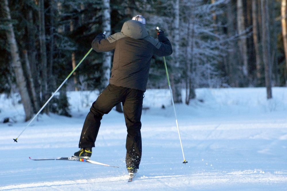 A skier heads out onto the Beach Lake Trails in Chugiak on Thursday, Nov. 15, 2018. The trails have been groomed but are rocking in some places, according to the Nordic Ski Association of Anchorage. (Matt Tunseth / Chugiak-Eagle River Star)