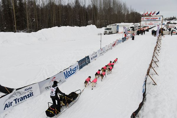 Mille Porsild approaches the finish line of the 2021 Iditarod Trail Sled Dog Race on March 15, 2021. (Marc Lester / ADN)
