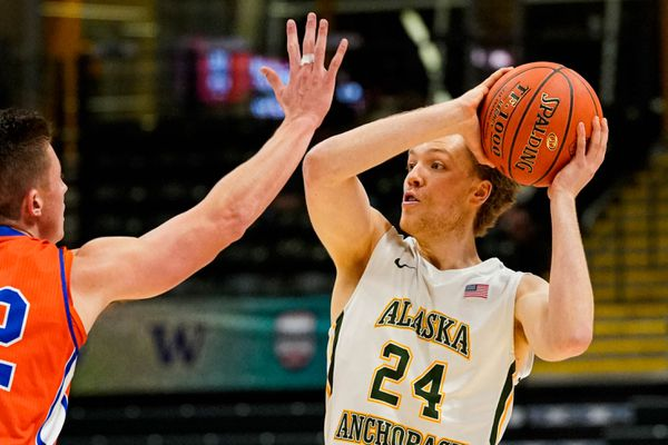 UAA's Jack MacDonald passes the ball during a game against the Coast Guard on Nov. 8, 2019 at the Alaska Airlines Center. (Loren Holmes / ADN)