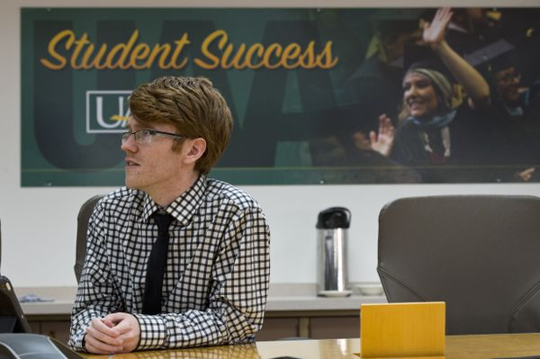 Stephen 'Joey' Sweet, member of the University of Alaska Board of Regents, makes comments in Anchorage. The University of Alaska Board of Regents met by teleconference to vote on the future of UAA's School of Education program on April 8, 2019. (Marc Lester / ADN)