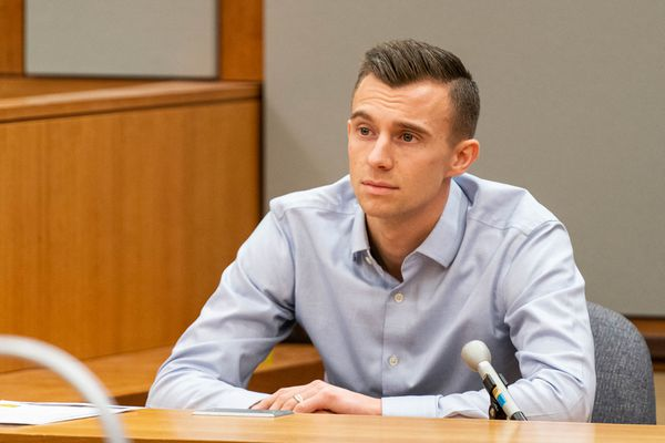 Michael Dupree, a co-owner of The Bullion Brothers, is cross-examined during a murder trial for Anthony Pisano on Tuesday, Feb. 18, 2020 in a courtroom at the Nesbett Courthouse in Anchorage. Pisano faces nine counts of murder in the Sept. 2017 deaths of 31-year-old Steven Cook, 48-year-old Kenneth Hartman and 31-year-old Daniel McCreadie. (Loren Holmes / ADN)