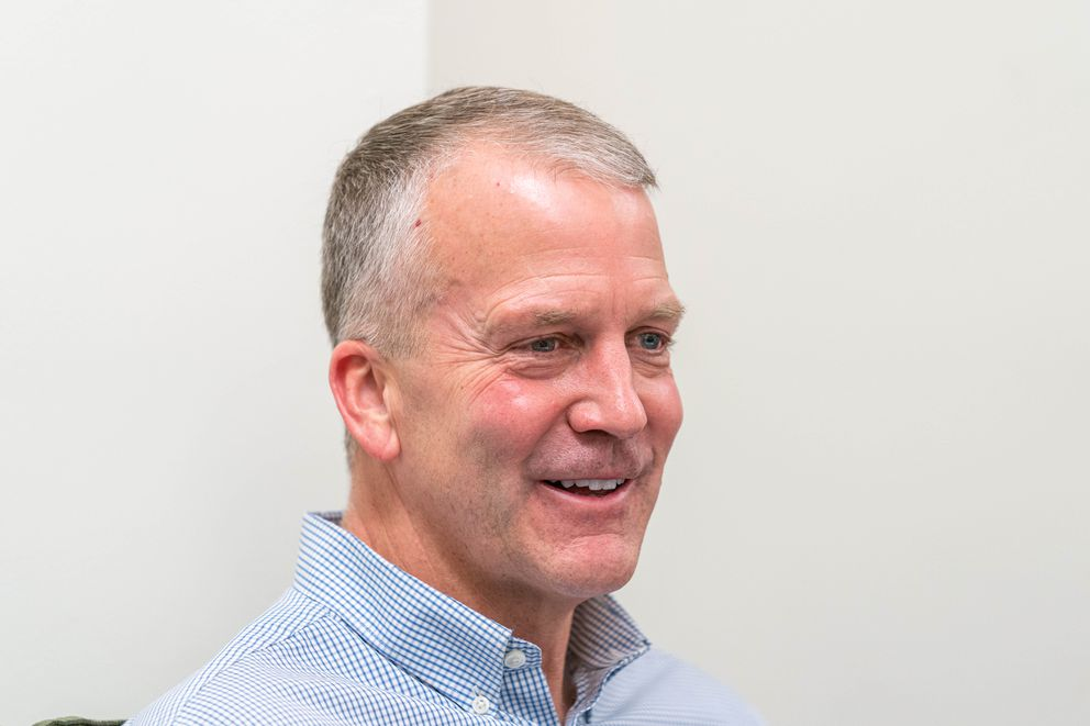 Sen. Dan Sullivan, R-Alaska, speaks with reporters at the Anchorage Daily News office on Friday, Dec. 6, 2019. (Loren Holmes / ADN)