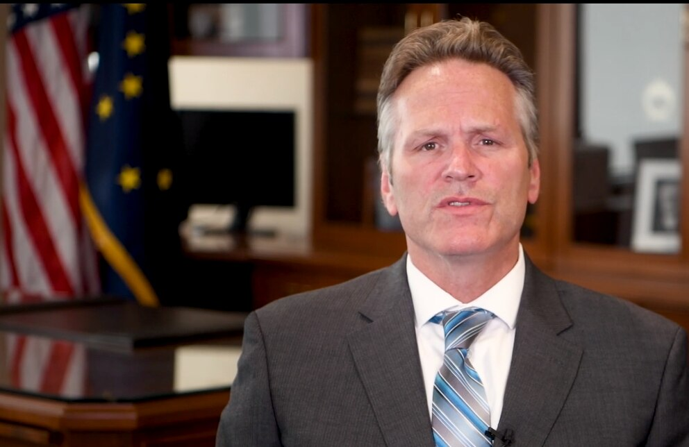 Gov. Mike Dunleavy in a video announcing action on the operating budget and Permanent Fund dividends. (Governor's office via Vimeo)