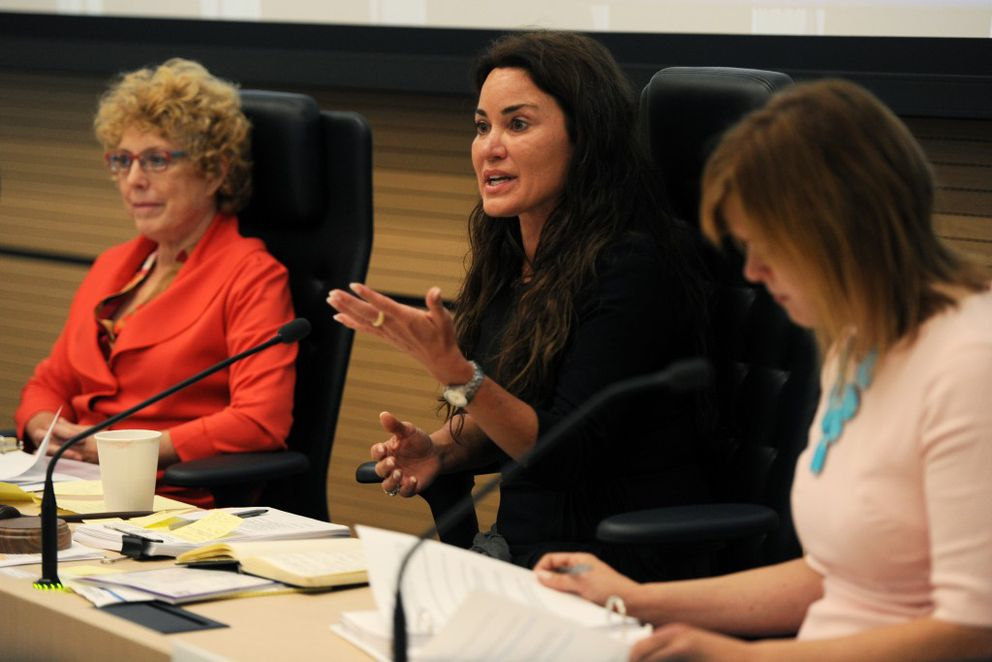 Sen. Lesil McGuire poses a question during a hearing on marijuana legalization before the House and Senate Judiciary Committees at the Anchorage LIO on Wednesday, Sept. 14, 2016, downtown. She is flanked by Rep. Gabrielle LeDoux, left, and Sen. Mia Costello. (Erik Hill / Alaska Dispatch News)