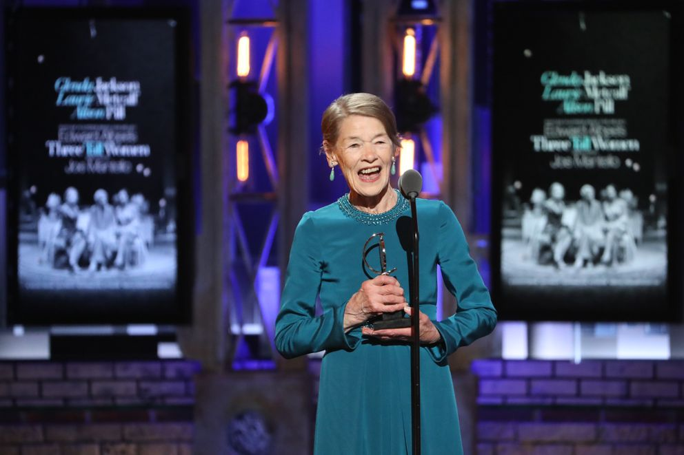 Glenda Jackson accepts the award for best performance by an actress in a leading role in a play for ÒEdward AlbeeÕs Three Tall Women,Ó at the 72nd Annual Tony Awards at Radio City Music Hall in New York, June 10, 2018. (Sara Krulwich/The New York Times)