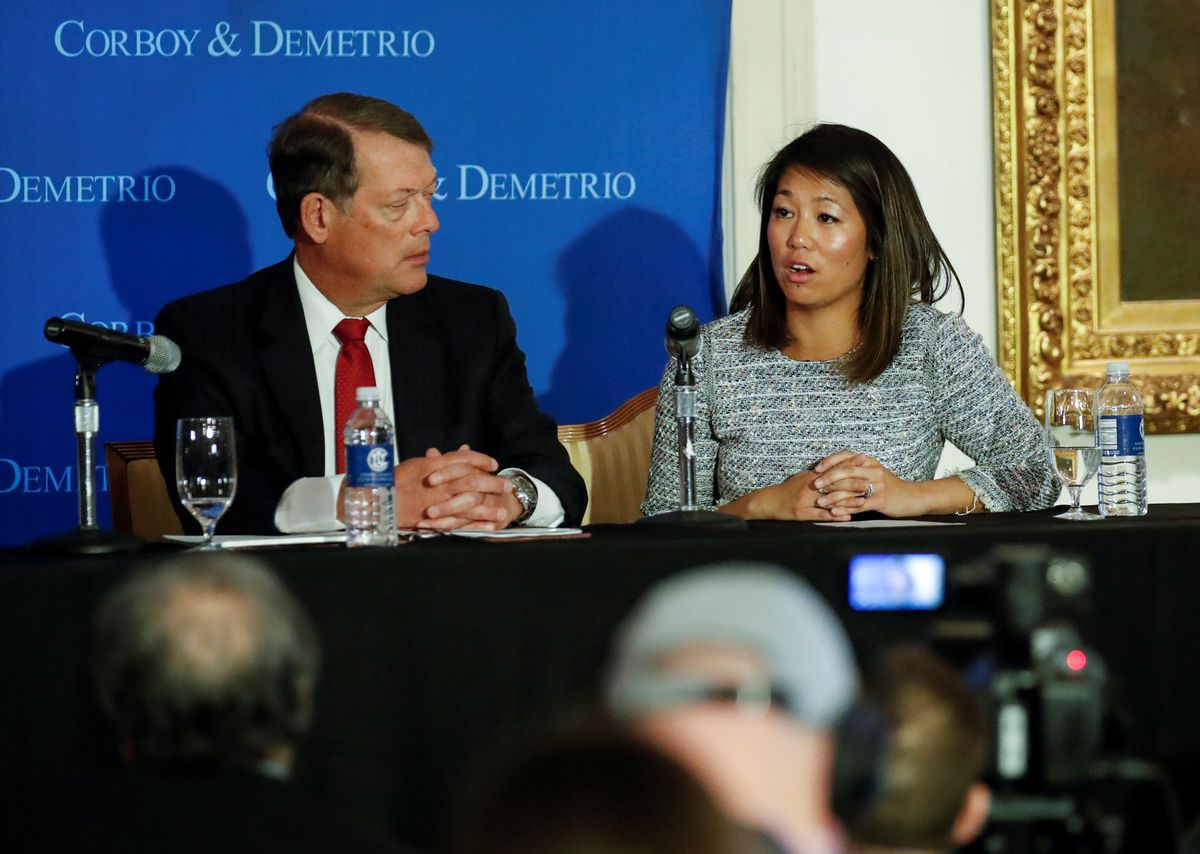 Crystal Dao Pepper, daughter of David Dao, speaks during a news conference at Union League Club in Chicago, April 13, 2017. REUTERS/Kamil Krzaczynski