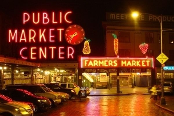 Seattle's Pike Place Market at night.