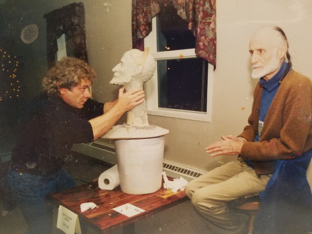 In this 1990 snapshot, Brother Asaiah Bates poses for a sculpture by Leo Vait. The photo was taken at the Pratt Museum by museum volunteer Linda Smoger and provided by Vait.