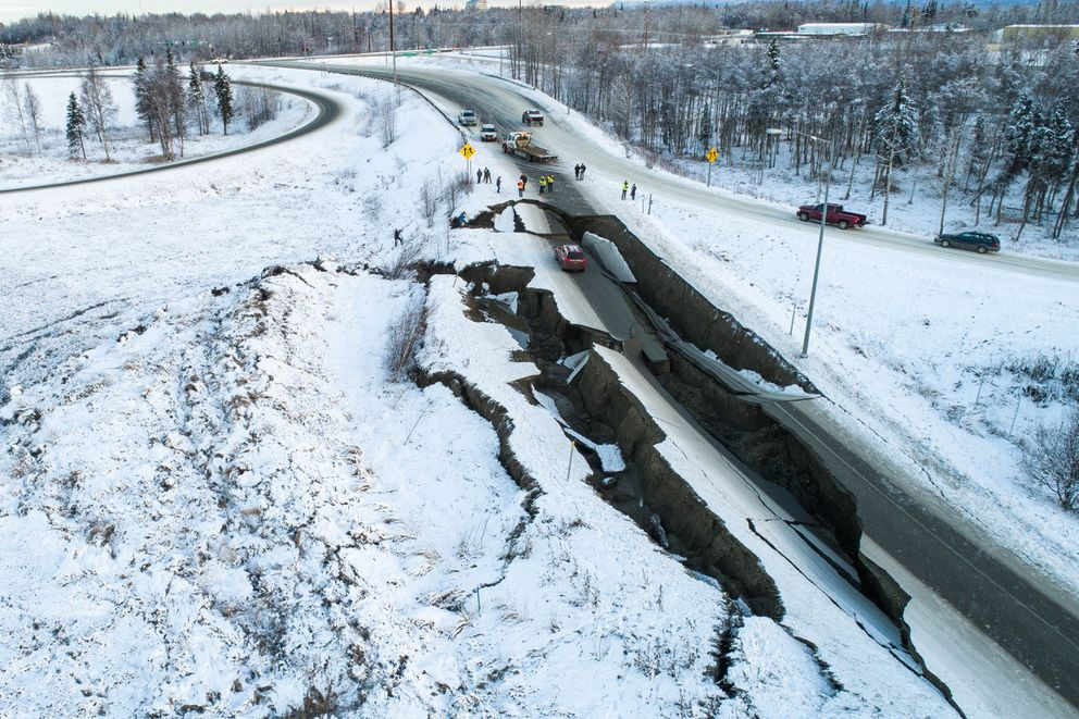 The northbound onramp for International Airport Rd. at Minnesota Blvd. collapsed Friday morning, Nov. 30, 2018 after a strong earthquake shook southcentral Alaska. (Courtesy Ryan Marlow / Alaska Aerial Media)