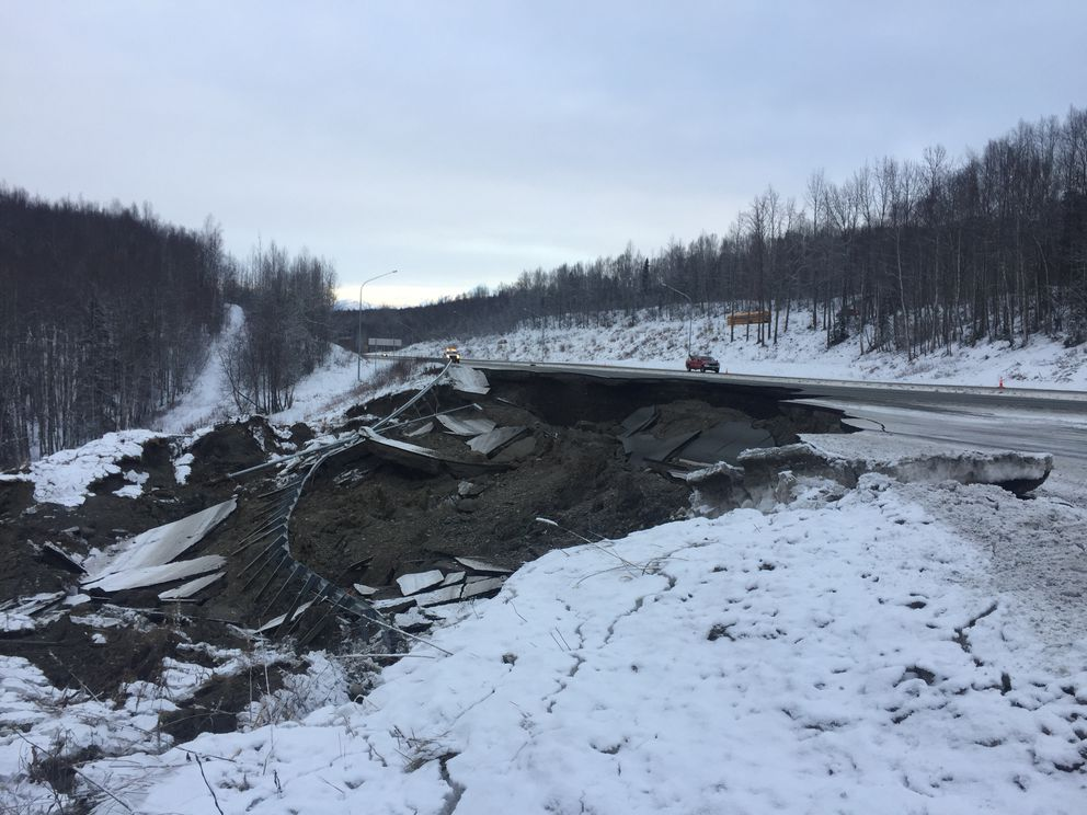 An earthquake-damaged section of the Glenn Highway near the Mirror Lake exit is seen on Nov. 30, 2018. (Matt Tunseth / Chugiak-Eagle River Star)