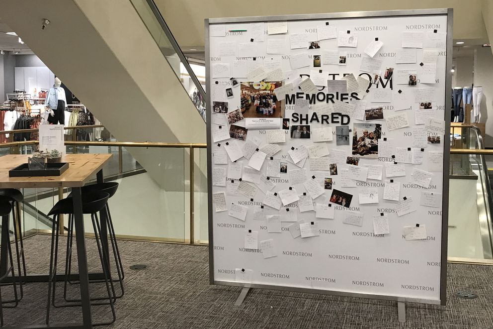 People's notes and memories about the downtown Anchorage Nordstrom hang on this board set up in the store, Aug. 13, 2019. (Annie Zak / ADN)