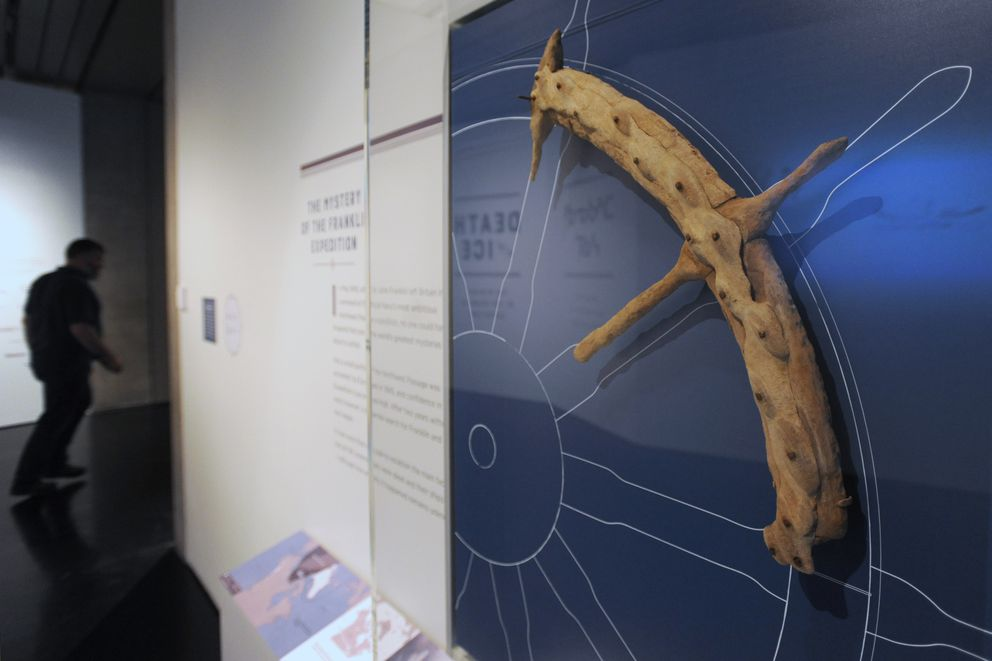 A section of wheel from the HMS Erebus was found on the seafloor near the wreck is on display in the Death in the Ice: The Mystery of the Franklin Expedition exhibit at the Anchorage Museum. (Bill Roth / ADN)