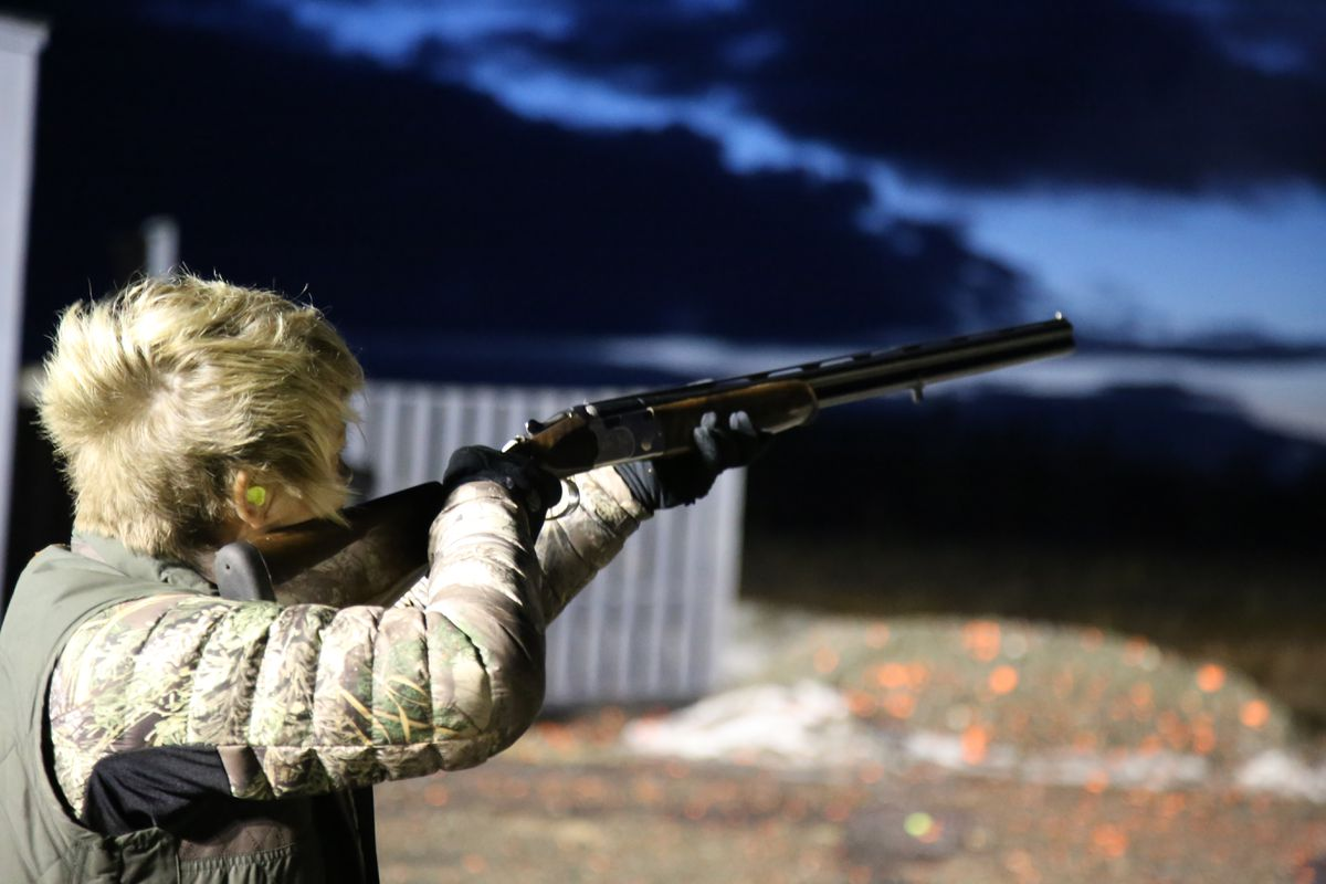 Christine Cunningham shoots skeet at the Snowshoe Gun Club with a 28-gauge Beretta, an over/under. (Photo by Steve Meyer)
