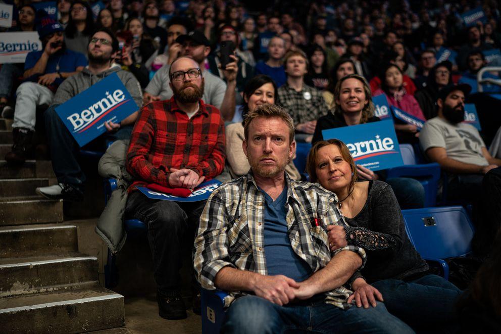 Supporters listen to Sen. Bernie Sanders, I-Vt., on Feb. 10, 2020, in Durham, New Hampshire. Washington Post photo by Salwan Georges