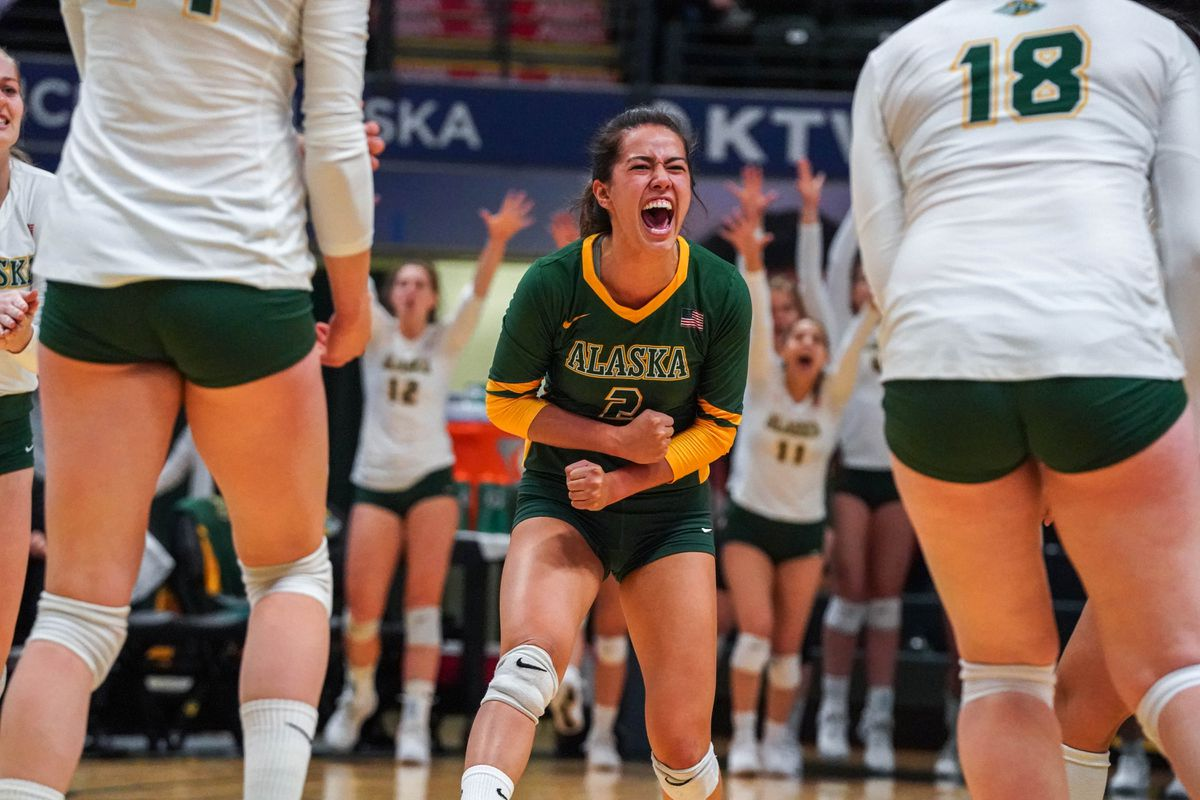 Anjoilyn Vreeland celebrates a point Thursday in UAA's victory over Central Washington at the Alaska Airlines Center. (Loren Holmes / ADN)