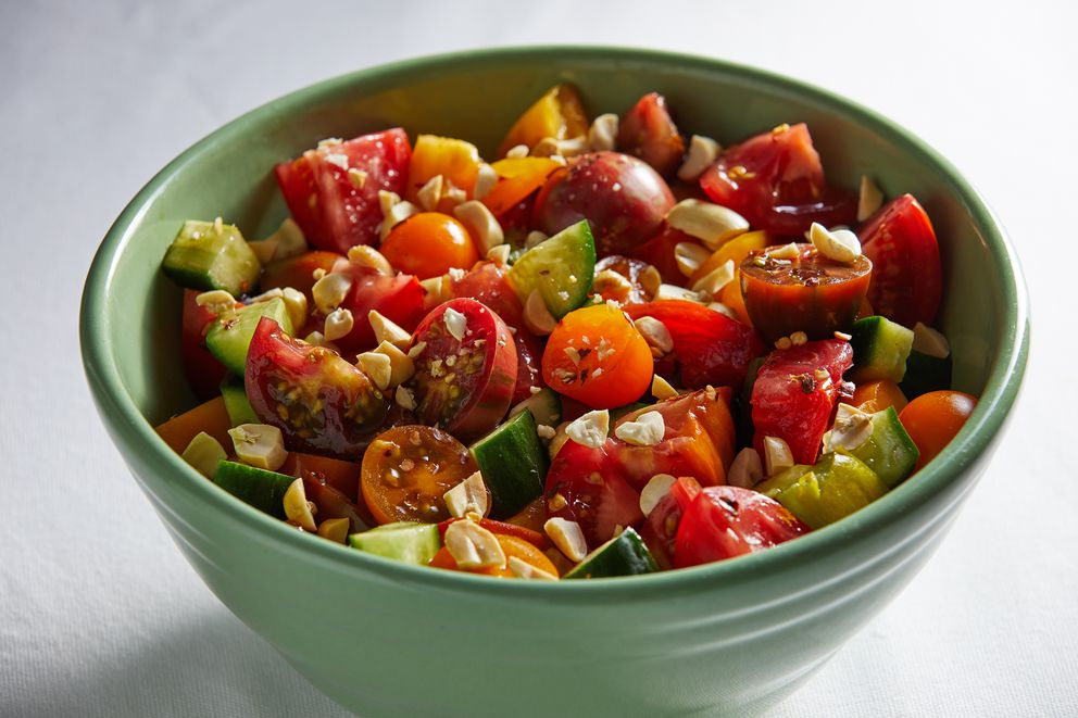 Thai-Style Marinated Tomatoes and Cucumbers. (Photo by Tom McCorkle for The Washington Post)