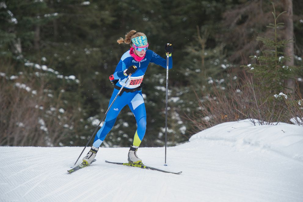 Tour of Anchorage women's winner Caroline Brisbois skis alone on the Spencer Loop trail. (Photo by Michael Dinneen)