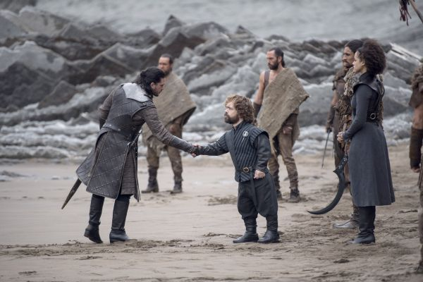 Tyrion Lannister and Jon Snow meet at Dragonstone in the penultimate season of
