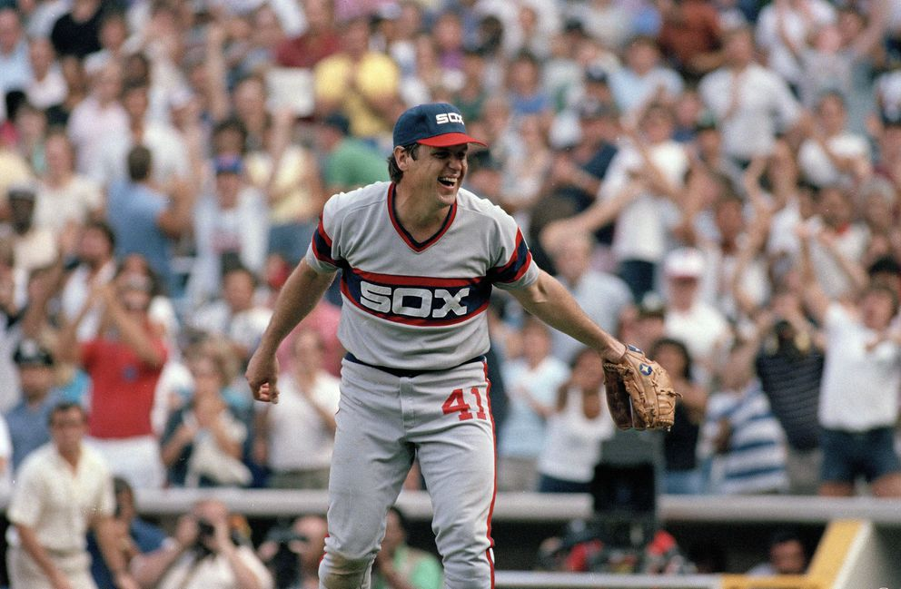 FILE - In this Aug. 4, 1985, file photo, Chicago White Sox pitcher Tom Seaver reacts as a fly ball hit by New York Yankees' Don Baylor is caught, ending the game and giving Seaver his 300th win, in a baseball game at Yankee Stadium in New York. (AP Photo/Forrest Anderson, File)