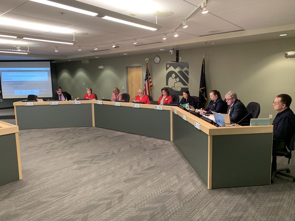 The Anchorage School Board has approved a three-year contract with the Anchorage Education Association teachers union. The school board voted on the contract during its regular meeting at the Anchorage School District Education Center on Monday. (Tegan Hanlon / ADN)