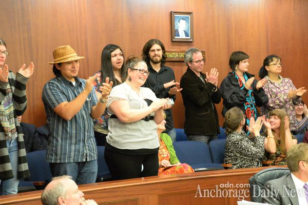 OPINION: Waiting until the Alaska Federation of Natives conference in October to sign a bill declaring 20 indigenous languages official in Alaska has broad support and is not a political ploy by an incumbent governor and legislative majority during an election year. Pictured: Supporters of the bill in the Capitol applauding at 3:15 a.m. after the bill passed.