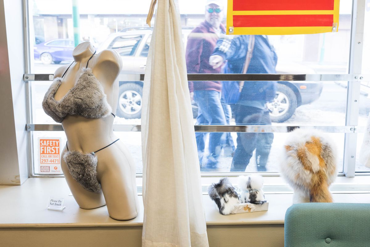 A fur bikini in the display window of Fur Traders of Alaska on Friday, March 10, 2017.