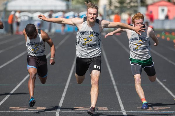 East's Colton Herman wins the 100 meter dash at the Brian Young Invitational Friday, May 31, 2019 at West High. Herman's time of 10.76 seconds was the fastest ever run by a high school athlete in Alaska. (Loren Holmes / ADN)
