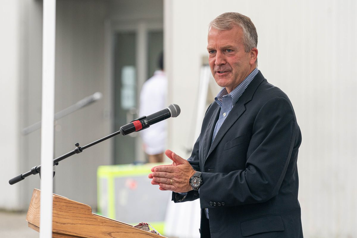 Sen. Dan Sullivan, R-Alaska, speaks during an event celebrating the opening of an Indian Affairs Cold Case Office on Wednesday, Aug. 26, 2020 at the Alaska Native Heritage Center in Anchorage. (Loren Holmes / ADN)