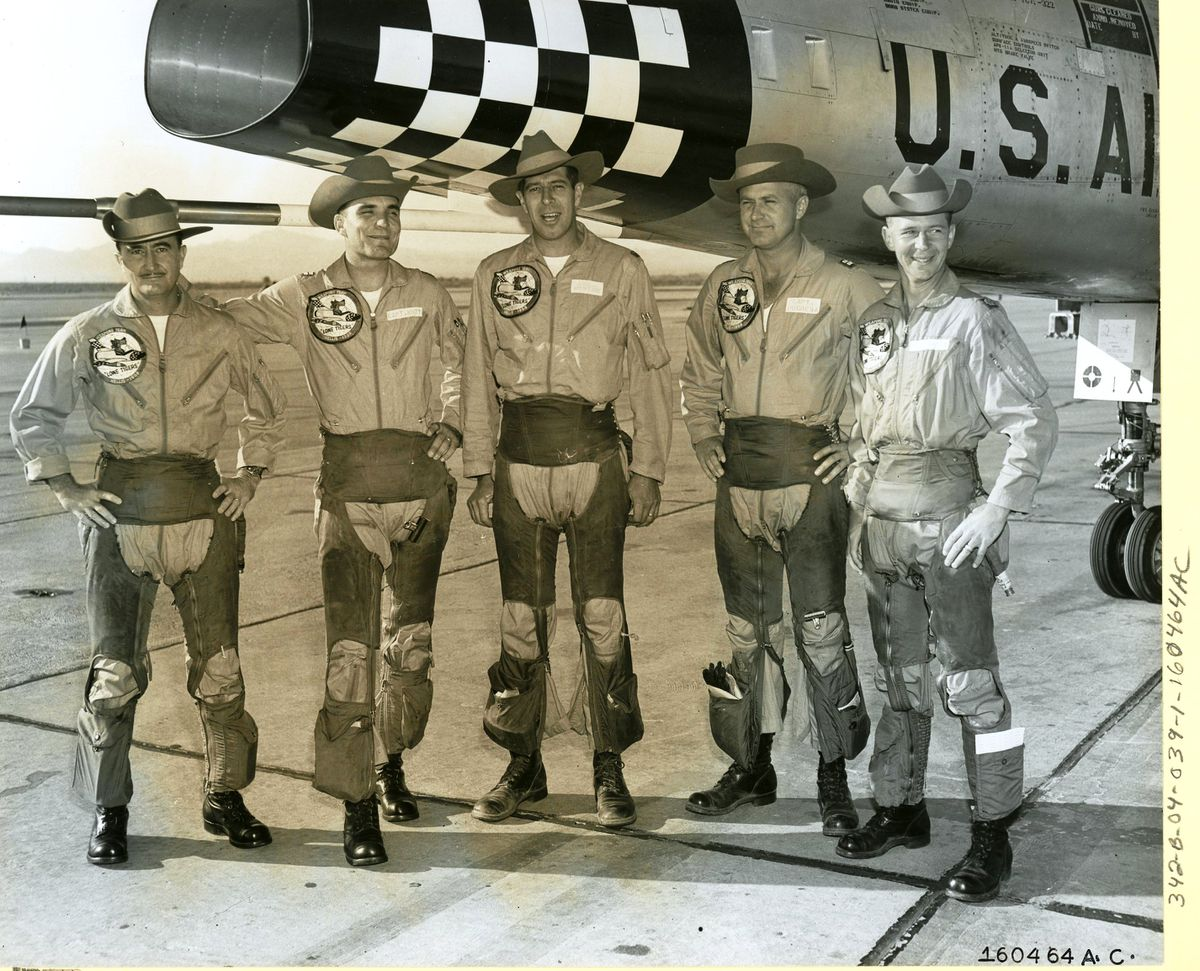 Capt. Charles W. Maultsby, far left, was a member of the Air Force's top tactical fighter team for supersonic weapons in an October 1958 competition at Nevada's Nellis Air Force Base. (Photo courtesy of National Archives)