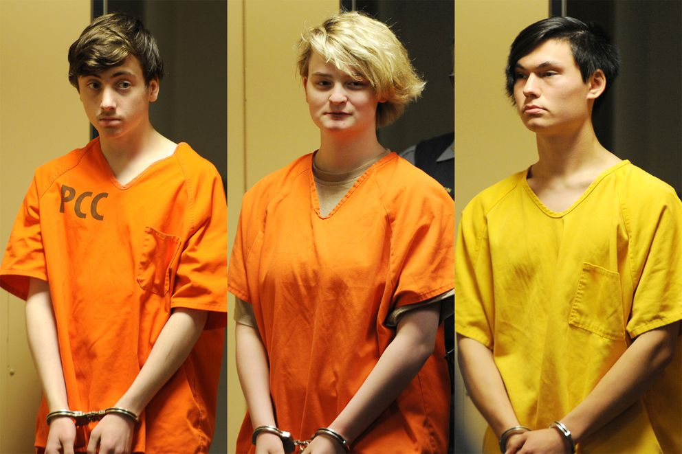 From left, Kayden McIntosh, 16, Denali Brehmer, 18, and Caleb Leyland, 19, appeared before a Superior court judge in the Nesbett Courthouse on Tuesday, June 18, 2019, after a grand jury indicted them on first-degree murder and other charges in the shooting death of 19-year-old Cynthia Hoffman at Thunderbird Falls. (Bill Roth / ADN)