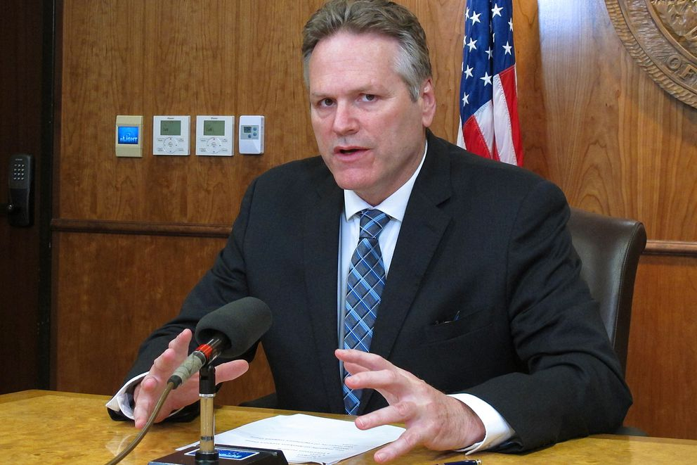 Alaska Gov. Mike Dunleavy speaks to reporters about his expectations for the end of the legislative session on Wednesday, May 15, 2019, Juneau, Alaska. Wednesday marked a constitutional deadline for the end of the regular session. (AP Photo/Becky Bohrer)