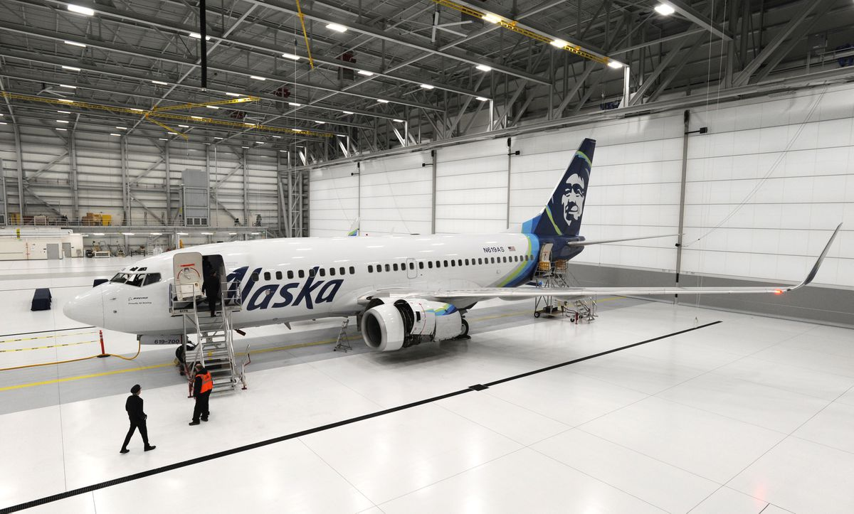 An Alaska Airlines Boeing 737-700 is parked inside the new Alaska Airlines Maintenance and Engineering Facility and Hangar at 3600 Old International Airport Road at Ted Stevens Anchorage International Airport on Wednesday, Nov. 7, 2018. (Bill Roth / ADN)