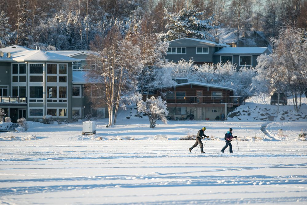 People ski on Campbell Lake Saturday, Jan. 18, 2020. A Facebook event, titled