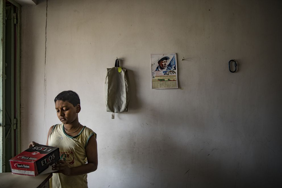 Adrishikar Nath did not ask if his father was dead for much of the year after he did not come home, in Durgapur, India, May 31, 2017. Sherpas took on a quest to find the bodies of climbers Goutam Ghosh and Nath — a year after they were abandoned near the top of Mount Everest — and bring them home. (Josh Haner/The New York Times)