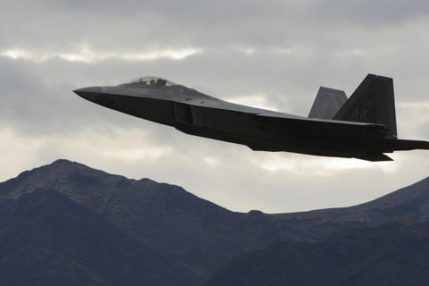 F-22 Raptors could be seen in the air over Joint Base Elmendorf-Richardson on Wednesday, Sept. 21, 2011. (Bill Roth / ADN archive 2011)