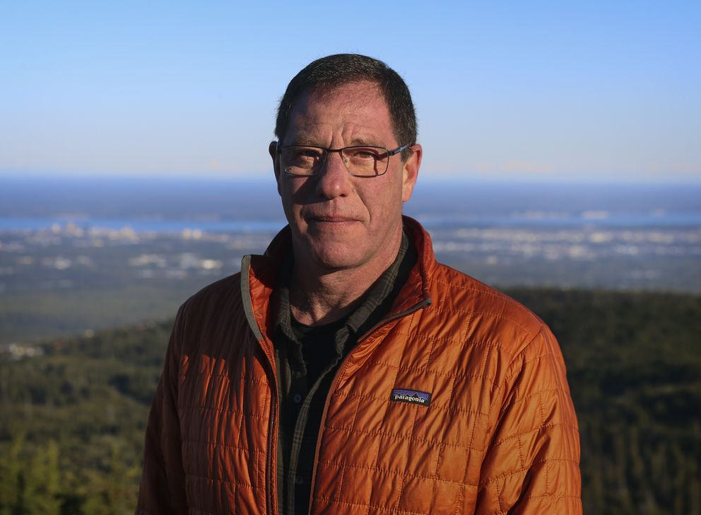 Senate candidate Al Gross at the Anchorage Overlook Trail near Anchorage on Sept. 11, 2020. (Emily Mesner / ADN)