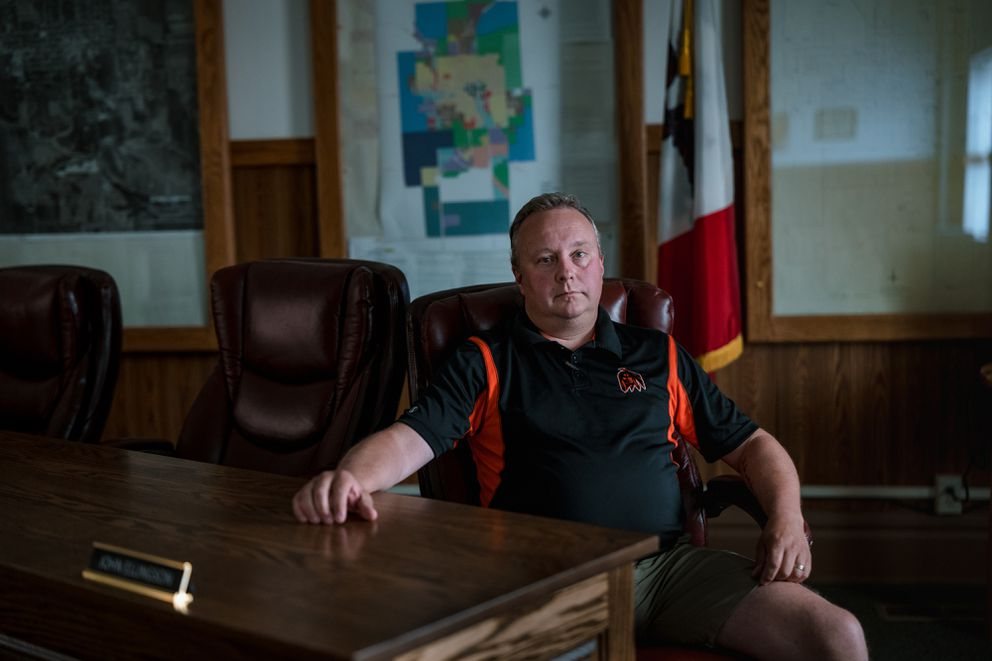 John Ellingson, a council member in Waukon, Iowa, at Waukon City Hall. (Photo by Ryan Christopher Jones for The Washington Post)