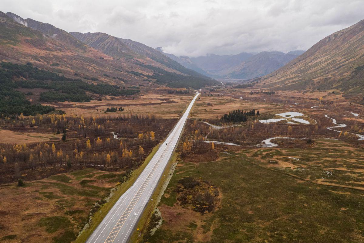 The Seward Highway runs through Turnagain Pass on Thursday, Oct. 1, 2020. (Loren Holmes / ADN)