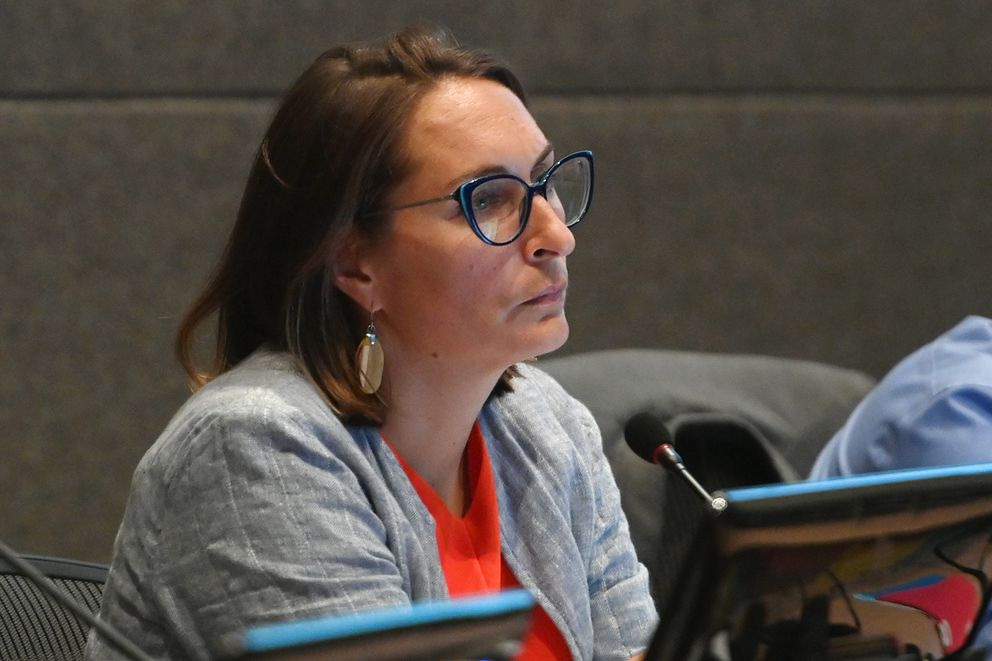 Anchorage Assembly member Meg Zaletel listens to public testimony during the assembly meeting on Tuesday, July 13, 2021. (Bill Roth / ADN)